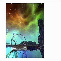 Fantasy Landscape With Lamp Boat And Awesome Sky Small Garden Flag (Two Sides)