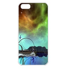 Fantasy Landscape With Lamp Boat And Awesome Sky Apple iPhone 5 Seamless Case (White)