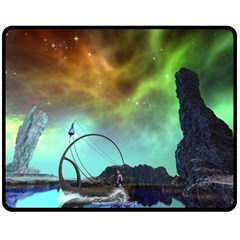Fantasy Landscape With Lamp Boat And Awesome Sky Double Sided Fleece Blanket (medium)