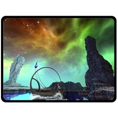 Fantasy Landscape With Lamp Boat And Awesome Sky Double Sided Fleece Blanket (Large)