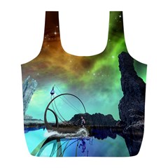 Fantasy Landscape With Lamp Boat And Awesome Sky Full Print Recycle Bags (L)