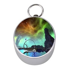 Fantasy Landscape With Lamp Boat And Awesome Sky Mini Silver Compasses