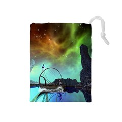 Fantasy Landscape With Lamp Boat And Awesome Sky Drawstring Pouches (Medium)