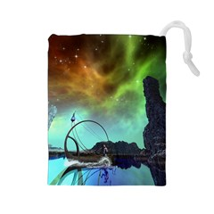 Fantasy Landscape With Lamp Boat And Awesome Sky Drawstring Pouches (Large)