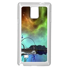 Fantasy Landscape With Lamp Boat And Awesome Sky Samsung Galaxy Note 4 Case (White)