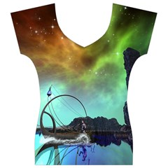 Fantasy Landscape With Lamp Boat And Awesome Sky Women s V-Neck Cap Sleeve Top
