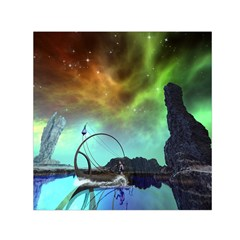 Fantasy Landscape With Lamp Boat And Awesome Sky Small Satin Scarf (square)