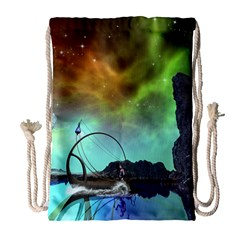 Fantasy Landscape With Lamp Boat And Awesome Sky Drawstring Bag (Large)
