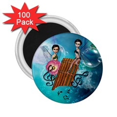 Music, Pan Flute With Fairy 2.25  Magnets (100 pack)