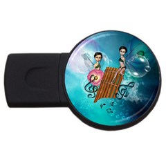 Music, Pan Flute With Fairy USB Flash Drive Round (2 GB)