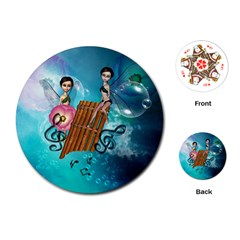 Music, Pan Flute With Fairy Playing Cards (Round)