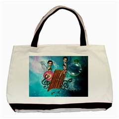 Music, Pan Flute With Fairy Basic Tote Bag