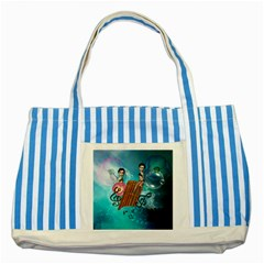 Music, Pan Flute With Fairy Striped Blue Tote Bag