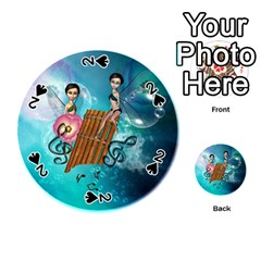 Music, Pan Flute With Fairy Playing Cards 54 (Round)