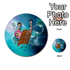 Music, Pan Flute With Fairy Multi-purpose Cards (Round)
