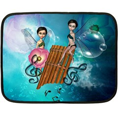 Music, Pan Flute With Fairy Double Sided Fleece Blanket (Mini)