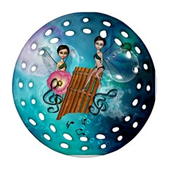 Music, Pan Flute With Fairy Round Filigree Ornament (2side)