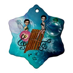 Music, Pan Flute With Fairy Snowflake Ornament (2 Side)