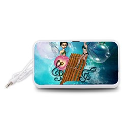 Music, Pan Flute With Fairy Portable Speaker (White)