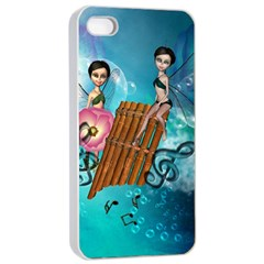 Music, Pan Flute With Fairy Apple iPhone 4/4s Seamless Case (White)