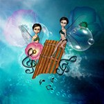 Music, Pan Flute With Fairy Merry Xmas 3D Greeting Card (8x4)  Inside