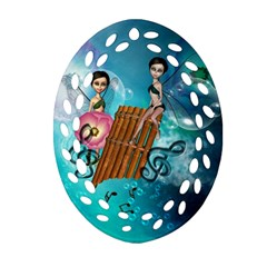 Music, Pan Flute With Fairy Ornament (Oval Filigree)