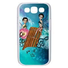 Music, Pan Flute With Fairy Samsung Galaxy S III Case (White)