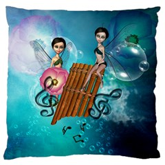 Music, Pan Flute With Fairy Large Cushion Cases (Two Sides)
