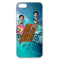 Music, Pan Flute With Fairy Apple Seamless iPhone 5 Case (Clear)