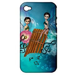 Music, Pan Flute With Fairy Apple iPhone 4/4S Hardshell Case (PC+Silicone)