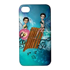 Music, Pan Flute With Fairy Apple iPhone 4/4S Hardshell Case with Stand