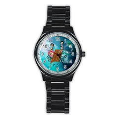 Music, Pan Flute With Fairy Stainless Steel Round Watches