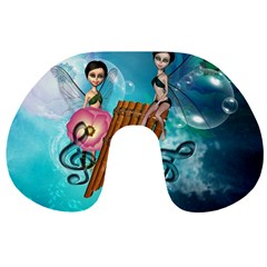 Music, Pan Flute With Fairy Travel Neck Pillows