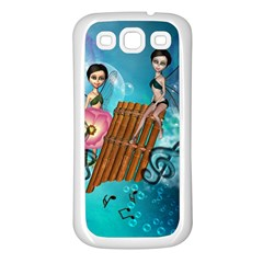 Music, Pan Flute With Fairy Samsung Galaxy S3 Back Case (White)