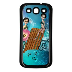 Music, Pan Flute With Fairy Samsung Galaxy S3 Back Case (Black)