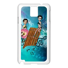 Music, Pan Flute With Fairy Samsung Galaxy Note 3 N9005 Case (White)