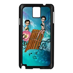 Music, Pan Flute With Fairy Samsung Galaxy Note 3 N9005 Case (Black)