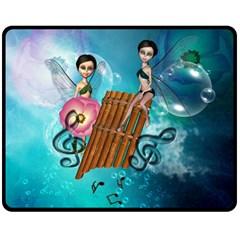 Music, Pan Flute With Fairy Double Sided Fleece Blanket (medium)
