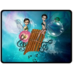 Music, Pan Flute With Fairy Double Sided Fleece Blanket (Large)
