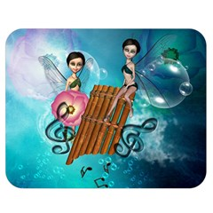 Music, Pan Flute With Fairy Double Sided Flano Blanket (Medium)
