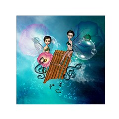 Music, Pan Flute With Fairy Small Satin Scarf (Square)
