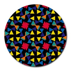 Colorful triangles and flowers pattern Round Mousepad