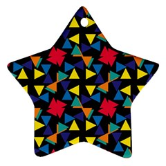 Colorful triangles and flowers pattern Ornament (Star)