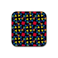 Colorful triangles and flowers pattern Rubber Square Coaster (4 pack)