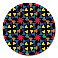 Colorful triangles and flowers pattern Magnet 5  (Round)