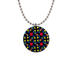Colorful triangles and flowers pattern 1  Button Necklace