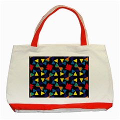 Colorful triangles and flowers pattern Classic Tote Bag (Red)