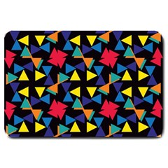 Colorful triangles and flowers pattern Large Doormat
