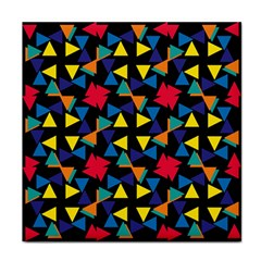 Colorful Triangles And Flowers Pattern Face Towel