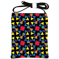 Colorful triangles and flowers pattern Shoulder Sling Bag